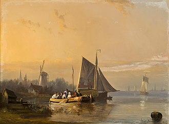 Egide Linnig - A river scene at dusk