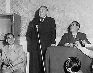 Eisaku Satō - From left Sato (then Minister of Construction), Prime Minister Shigeru Yoshida and Party chairman Saeki Ozawa (1953)