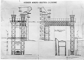 Municipal Library Elevator Coup - Plans of the Elevator of São Julião, showing the profile between the two squares