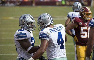2016 Dallas Cowboys season - Dak Prescott and Ezekiel Elliott during the Cowboys at Redskins game in September.