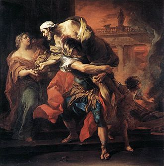 Anchises - Aeneas Bearing Anchises from Troy, by Carle van Loo, 1729 (Louvre).