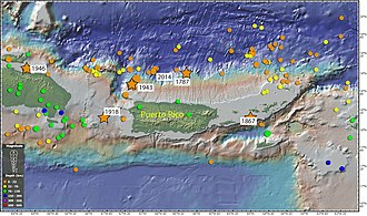 1918 San Fermín earthquake - Image: Epicenters of earthquakes around Puerto Rico in last 100 years