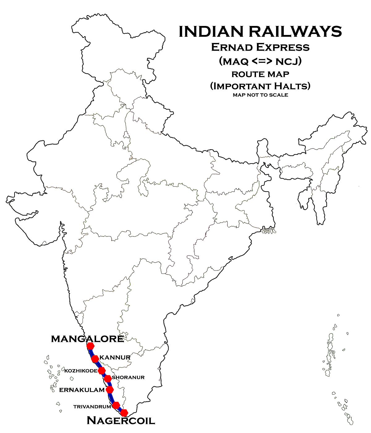 Ernad Express Wikipedia - Kanhangad map