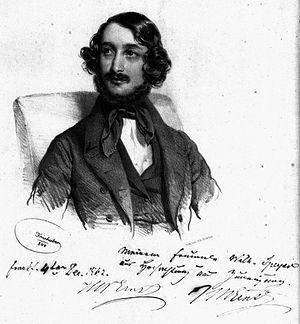 Heinrich Wilhelm Ernst - Image: Ernst Porträt & Autogramm