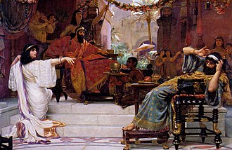 Haman - Esther denouncing Haman by Ernest Normand