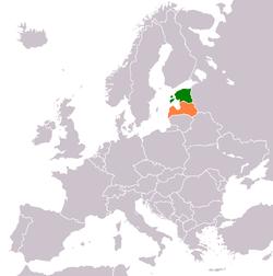 Map indicating locations of Estonia and Latvia