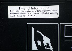 Renewable fuels - Information on pump regarding ethanol fuel blend up to 10%, California