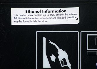 Biofuel - Information on pump regarding ethanol fuel blend up to 10%, California