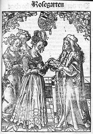 Catherine of Pomerania, Duchess of Brunswick-Lüneburg - Eucharius Rösslin presents Der Rosengarten to Catherine