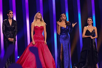 Sílvia Alberto - Alberto (centre left), along with her Eurovision Song Contest co-hosts, Filomena Cautela, Daniela Ruah, and Catarina Furtado.