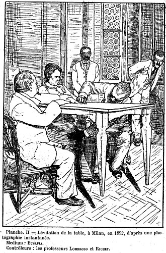 "Eusapia Palladino - Cesare Lombroso and Charles Richet ""control"" while Palladino levitates table, Milan, 1892."