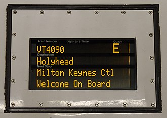 British Rail Class 221 - The electronic information display board on Virgin Trains (West Coast) 221109. Here this board shows that the train is bound for Holyhead