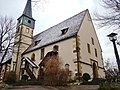 """Ev. Pfarrkirche, """"Konstanzer Kirche"""", früher """"Marienkirche"""", 1470-1480, spätgotische Chorseitenturmanlage, Wehrmauer von 1495 - panoramio.jpg"""