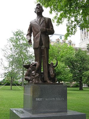 Everett Dirksen - Statue of Senator Dirksen on the grounds of the Illinois State Capitol in Springfield, Illinois. This statue has since been moved to Mineral Springs Park in his hometown of Pekin, Illinois.