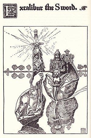 "Magic sword - ""Excalibur the Sword"" Illustration of Arthur receiving it from the Lady of the Lake, by Howard Pyle for The Story of King Arthur and his Knights."