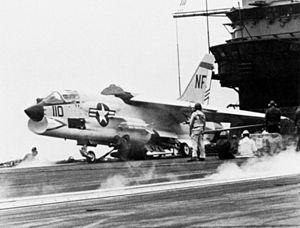 F-8H VF-51 on cat USS Bon Homme Richard (CVA-31) 1968.jpg
