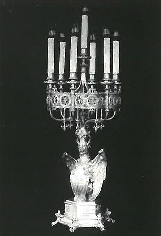 Neo-Gothic Alexander and Barbara Kelch's silver service - Part of the Kelch silverware. Candlestick. Photo 1900.