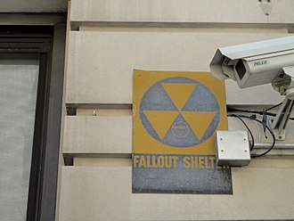 Nuclear fallout - Fallout shelter sign on a building in New York City.