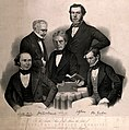 Famous chemists, gathered around a table. Lithograph by Shap Wellcome V0006738.jpg
