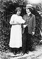 Fan, hat, man and woman Fortepan 58804.jpg