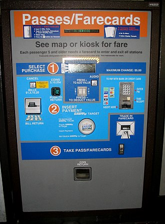 Stored-value card - A vending machine sells farecards for the Washington Metro subway.