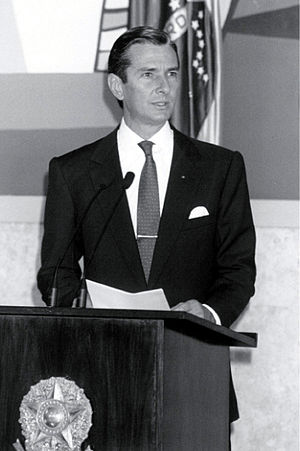 Fernando Collor de Mello - President Collor speaking at the Planalto presidential palace, 1991.