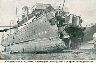 "SS Sussex - Image: Ferry ""Sussex"" torpedoed 1916"