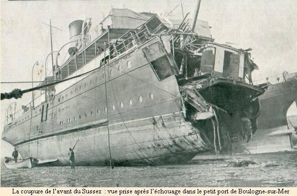 "Ferry ""Sussex"" torpedoed 1916"