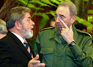 Brazil–Cuba relations - former Cuban President Fidel Castro and former Brazilian President Lula da Silva talking in September 2003