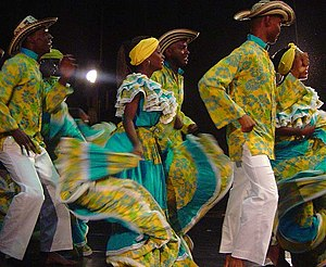 "Afro-Colombians - ""Fiesta in Palenque"" traditional African Colombian dance from San Basilio de Palenque, a former enclave of escaped slaves, now considered by the UNESCO a Masterpieces of the Oral and Intangible Heritage of Humanity."
