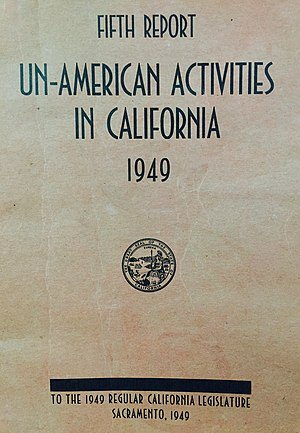 California Senate Factfinding Subcommittee on Un-American Activities - The front cover of the fifth report published by the committee (1949).