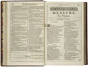 Measure for Measure - The first page of Shakespeare's Measure for Measure, printed in the First Folio of 1623