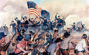History of Mississippi - Confederate lines, Vicksburg, May 19, 1863. Shows assault by US 1st Battalion, 13th Infantry