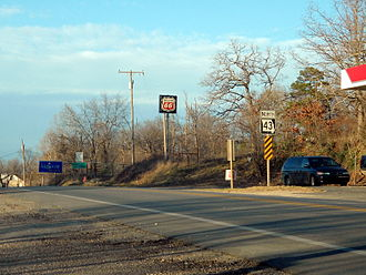 Missouri Route 43 - First reassurance marker heading north, Route 43, Southwest City, Missouri. Near the AR/MO/OK tripoint