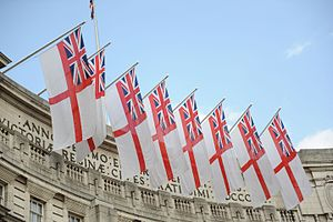 White Ensign - Admiralty Arch is customarily decorated with white ensigns on state occasions