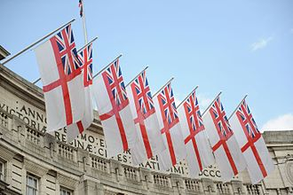 White Ensign - Admiralty Arch in Trafalgar Square of London is customarily decorated with white ensigns on state occasions such as this St. George's Day in 2011