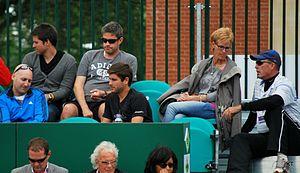 Ivan Lendl - Lendl (far right) talking to Judy Murray.