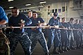 Flickr - Official U.S. Navy Imagery - Sailors handle a receiving line..jpg