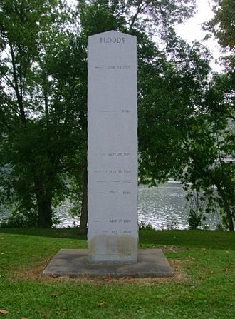 Bloomsburg, Pennsylvania - A marker behind the airport showing the height of the river during historic floods (the dirt mark is from the 2006 floods).