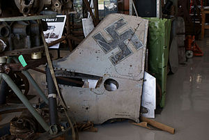 Focke-Wulf Fw 190 - An Fw 190F's tailfin, showing the triangular hinged panel for access to the tailwheel retraction mechanics inside of it.