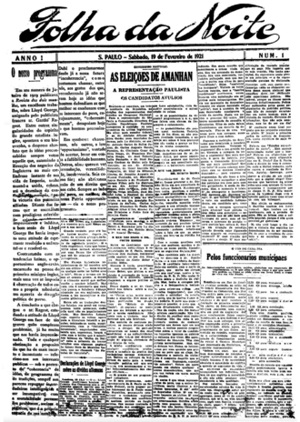"Folha de S.Paulo - Cover of the first issue of ""Folha da Noite"" published on Saturday, February 19th, 1921"