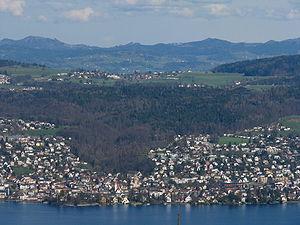 Forch - Zürichsee, Küsnacht, Küsnachter Tobel valley and Forch as seen from nearby Felsenegg