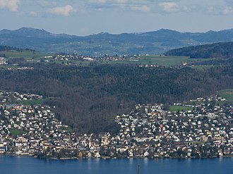 Forch - Zürichsee, Küsnacht, Küsnachter Tobel valley and Forch as seen from nearby Felsenegg