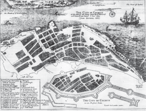 Kochi Municipal Corporation - The map of Fort Kochi City Municipality under Dutch with Fort Stormburg (Kochi Fort) seen below. This was the first municipality in the country formed in 1664