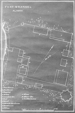 Wrangell Bombardment - Architectural layout map of Fort Wrangell, dated circa 1877