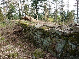 Château du Petit-Ringelstein - West wall; dry stone walling of the enceinte