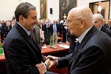 Francesco Profumo e Giorgio Napolitano ad un convegno nel novembre del 2011.