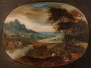 Frans Mostaert - Landscape with the Good Samaritan