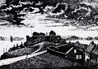 Fredriksberg Fortress - Fredriksberg, drawing from 1875 by Nicolay Nilsen
