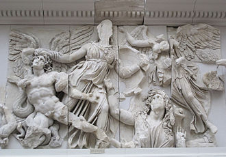 Giants (Greek mythology) - Winged Giant (usually identified as Alcyoneus), Athena, Gaia (rising from the ground), and Nike, detail of the Gigantomachy frieze, Pergamon Altar, Pergamon museum, Berlin